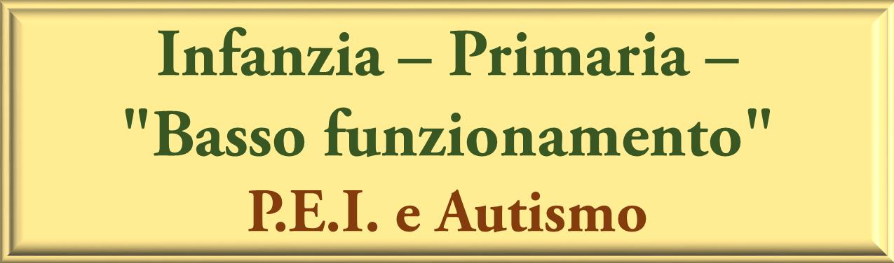 PEI e AUTISMO INFANZIA PRIMARIA E BASSO FUNZIONAMENTO